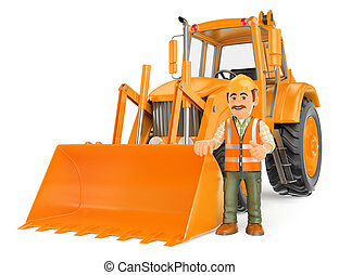 3D Construction worker with a backhoe