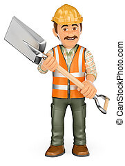 3D Construction worker with a shovel