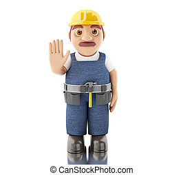 3d Construction worker with tools - 3d illustration....