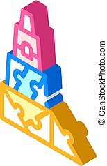 3d constructor and puzzle toy isometric icon vector illustration