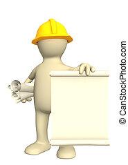 3d, construtor, com, rolos