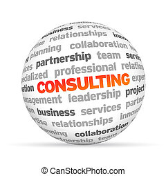 3d Consulting Word Sphere on white background.