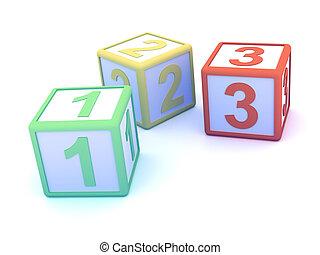 3d, contagem, blocos