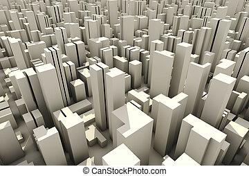 3d, contorno, de, un, multitud, ciudad, vista aérea