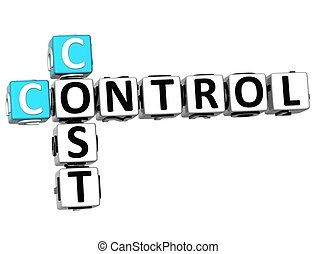 3D Control Cost Crossword on white background