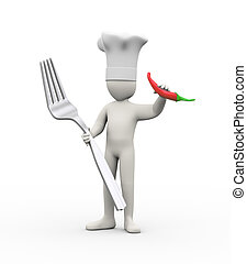 3d cook man holding fork and red pepper chilli