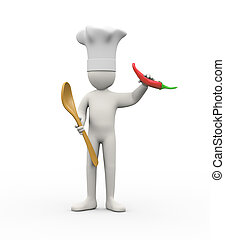 3d cook man holding spoon and red pepper chilli