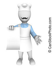 3d cook with blank menu board.  3d rendered illustration with small people.