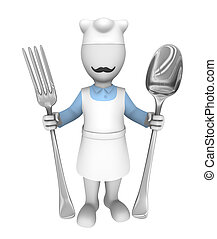 3d cooking chef with fork and spoon