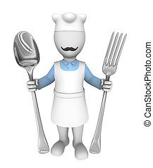 3d cooking chef with fork and spoon isolated on white background.