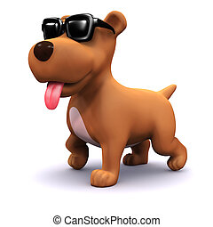 3d Cool dog - 3d render of a dog wearing sunglasses