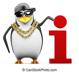 3d Cool penguin has information