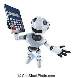 3d Cool robot mechanical man holding a calculator