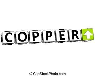 3D Copper Index Button Click Here Block Text