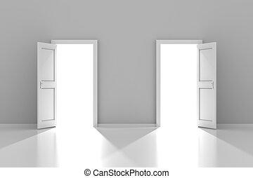 3d, copyspace, deux, render, portes
