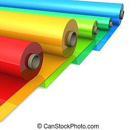 3d, cor, plástico, rolos