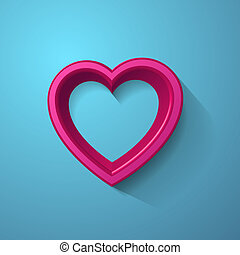 3d, coração, frame., vetorial