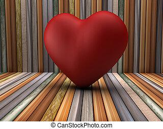 3d, coração vermelho, forma, em, madeira, sala