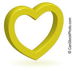 3d, coração, vetorial, lustroso, dourado