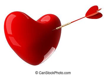 3d, corazón, perforado, image., arrow.