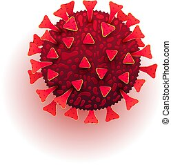 3d coronavirus bacteria cell or molecule isolated on white background. 2019-nCoV Novel Coronavirus pandemic. Can be used for article, banner, poster, infographics.