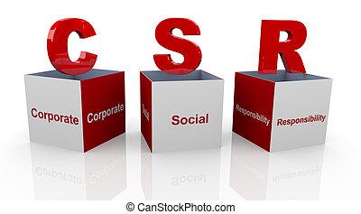 3d open text cubes of buzzword csr - corporate social responsibility