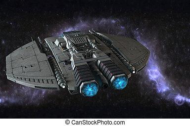 3d cosmic scene - 3d cosmic illustration with spaceship ...