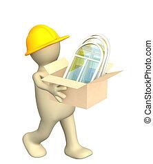 3d, costruttore, portamento, uno, scatola, con, windows