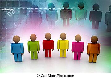 3d, couleur, gens
