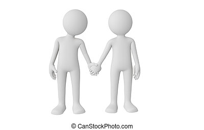 3D couple holding hands isolated with white background
