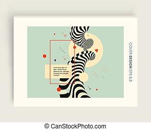3d cover design template. Asian vector illustration. Pattern...