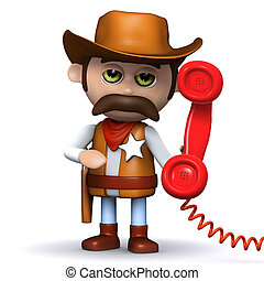 3d Cowboy answers the phone