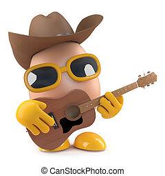 3d Cowboy Egg Plays Acoustic Guitar