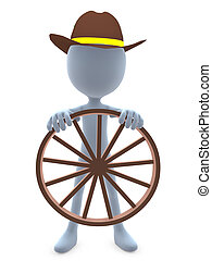 3D Cowboy Guy - 3D cowboy guy holding a wagon wheel on a...