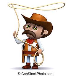 3d, cowboy, sceriffo, altalene, suo, laccio