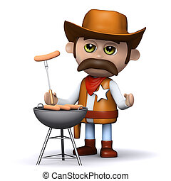 3d Cowboy sheriff cooks a mean barbeque - 3d render of a ...
