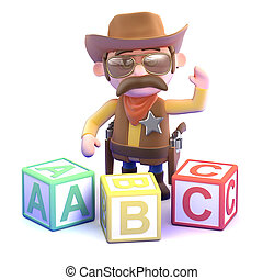 3d Cowboy sheriff learns the alphabet