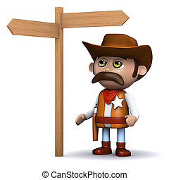 3d Cowboy sheriff looks at the roadsign