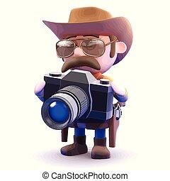 3d Cowboy sheriff takes a picture