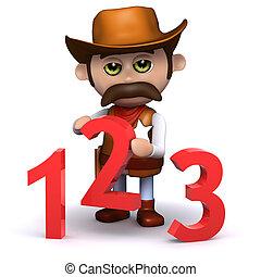3d Cowboy sheriff teaches math