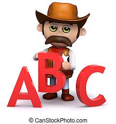 3d Cowboy sheriff teaches the alphabet