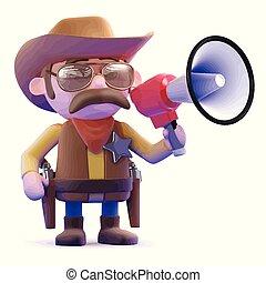 3d Cowboy with megaphone