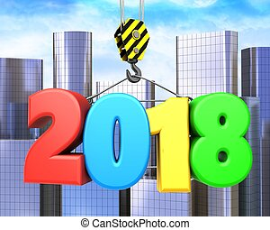 3d crane hook with colorful 2018 sign