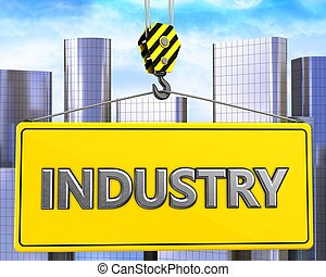 3d crane hook with metal industry sign - 3d illustration of...