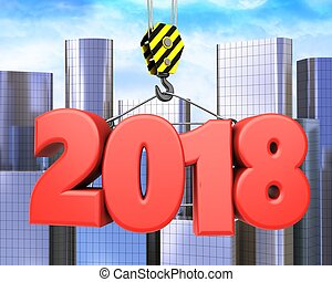 3d crane hook with red 2018 sign