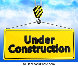 3d crane hook with under construction sign