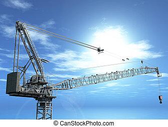 3D crane in blue sky