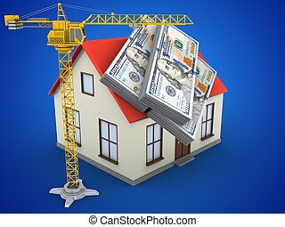 3d crane - 3d illustration of generic house over blue...