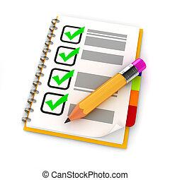 3d, crayon, et, liste contrôle, blanc, fond