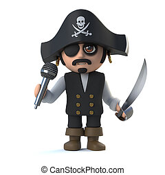 3d Crazy cartoon pirate captain character sings into a...